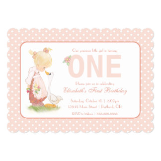 Precious Moments   First Birthday - Girl with Duck Card