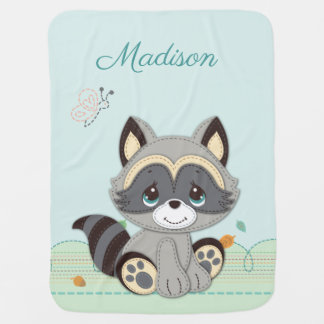 Precious Moments | Woodland Baby Raccoon Baby Blanket