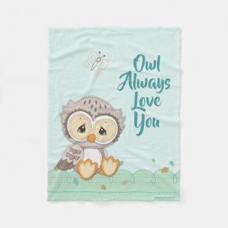 Precious Moments | Woodland Owl Always Love You Fleece Blanket