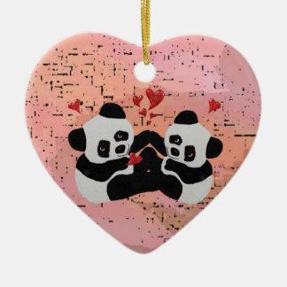 Precious Panda Hearts Ceramic Ornament
