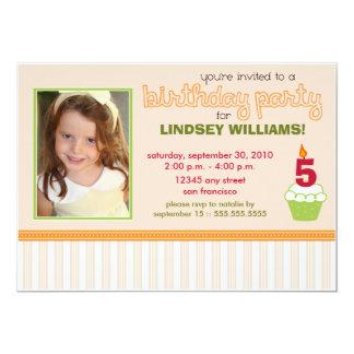 Precious Peach Cupcake Girls Birthday Party Invite