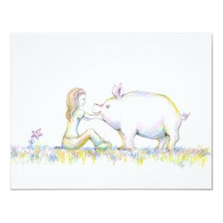 Precious Pig 11 Cm X 14 Cm Invitation Card