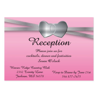 Precious Pink and Silver Wedding Love Hearts Pack Of Chubby Business Cards
