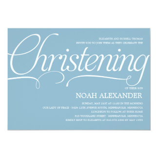 Precious Script Christening Invitation - Blue