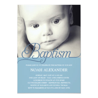 Precious Script Photo Baptism Invitation - Blue
