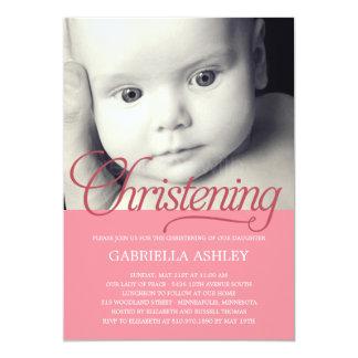 Precious Script Photo Christening Invitation -Pink Custom Announcement
