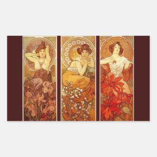 Precious Stones - Alphonse Mucha Rectangular Sticker