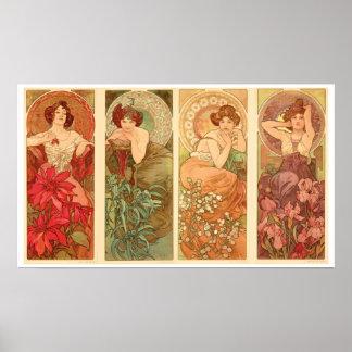 Precious Stones and Flowers, Alphonse Mucha 1900 Poster