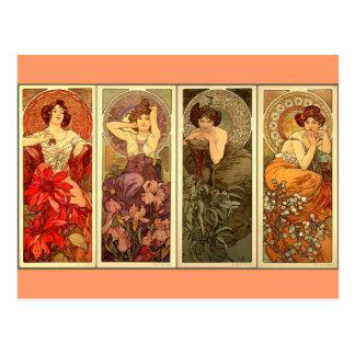 Precious Stones - Art nouveau Postcard