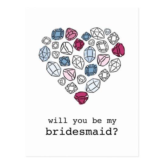 precious stones heart my bridesmaid vertical postcard