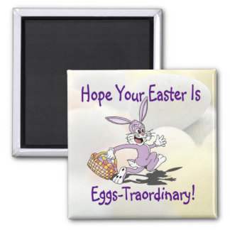 Precious - Yippy! It's Easter Egg Hunting Season! Square Magnet