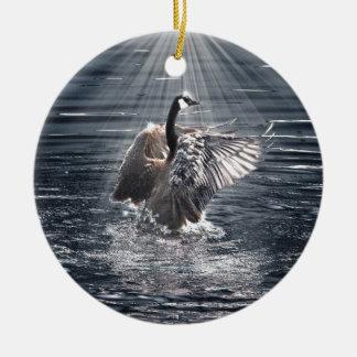 Preening, Flapping Wild Canada Goose Design Ceramic Ornament