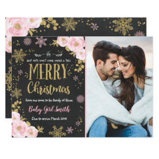 Pregnancy Announcement Christmas Photo Card Gold