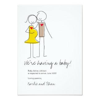Pregnancy Announcement, Neutral Colours 13 Cm X 18 Cm Invitation Card