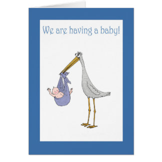 Pregnancy announcement, stork and baby card
