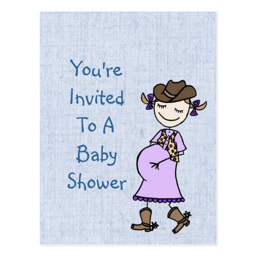 Pregnant Cowgirl Baby Shower Post Cards