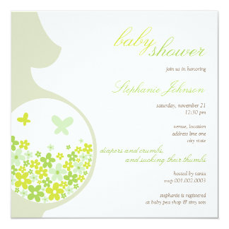 """Pregnant Mom Butterflies Flower Daisy Baby Shower 5.25"""" Square Invitation Card"""