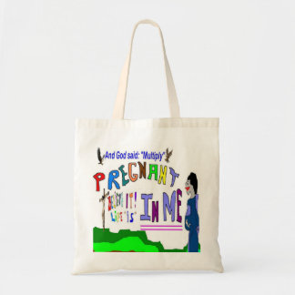 Pregnant Multiply on Earth Baby Essentials Totes Tote Bags