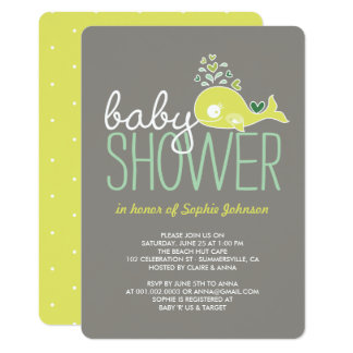 Pregnant Mummy Whale Girl Boy Baby Shower Invite