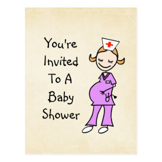 Pregnant Nurse Baby Shower, beige Postcard