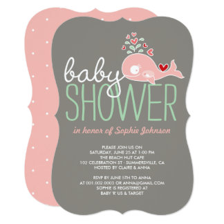 Pregnant Pink Mummy Whale Girl Baby Shower Invite