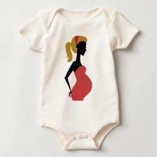 PREGNANT VINTAGE MOTHER / GIRL RED WITH DOTS BABY BODYSUIT