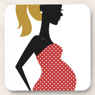 PREGNANT VINTAGE MOTHER / GIRL RED WITH DOTS COASTER