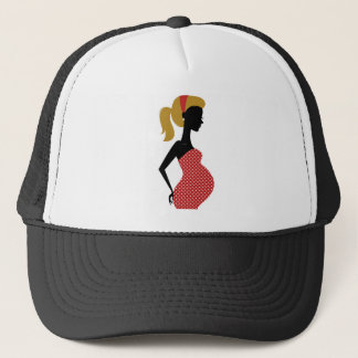 PREGNANT VINTAGE MOTHER / GIRL RED WITH DOTS TRUCKER HAT