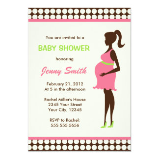 """Pregnant Woman Baby Shower 5"""" X 7"""" Invitation Card"""
