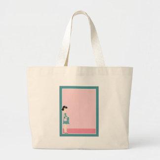 Pregnant Woman Border Tote Bag
