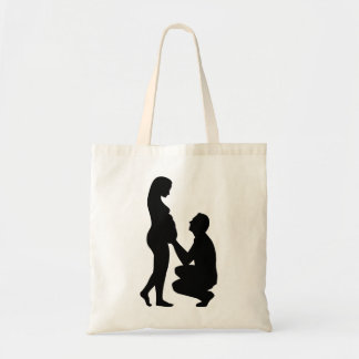 Pregnant woman couple tote bags