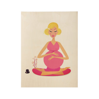 Pregnant woman illustration on wood wood poster