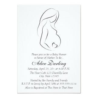 Pregnant Woman Profile Heart Baby Shower Invite
