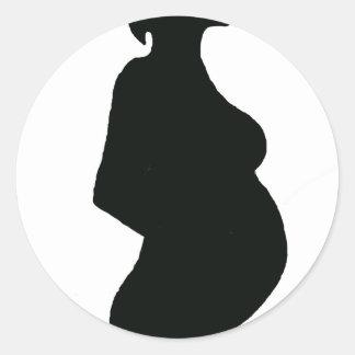 Pregnant Woman Silouhette Classic Round Sticker