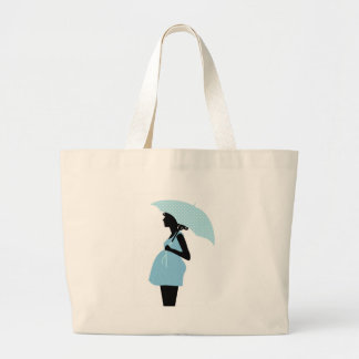 Pregnant Woman with Polka Dot Umbrella Baby Blue Jumbo Tote Bag