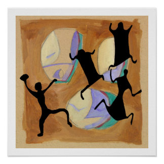 Prehistoric Cave Drawing Football Poster