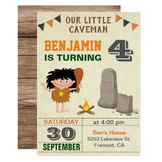 Prehistoric Caveman Kids Birthday Party Invitation