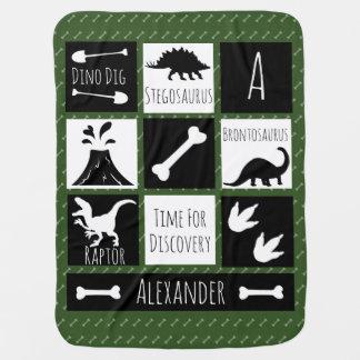 Prehistoric Dinosaur Dig & Name Baby Blanket