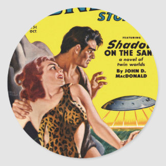 Prehistoric Flying Saucer Round Sticker