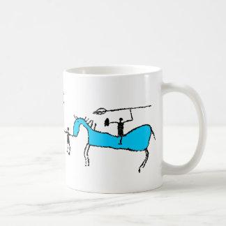 Prehistoric horse rider with pike coffee mug
