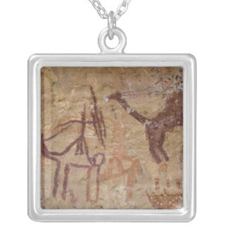 Prehistoric rock paintings with camels and square pendant necklace