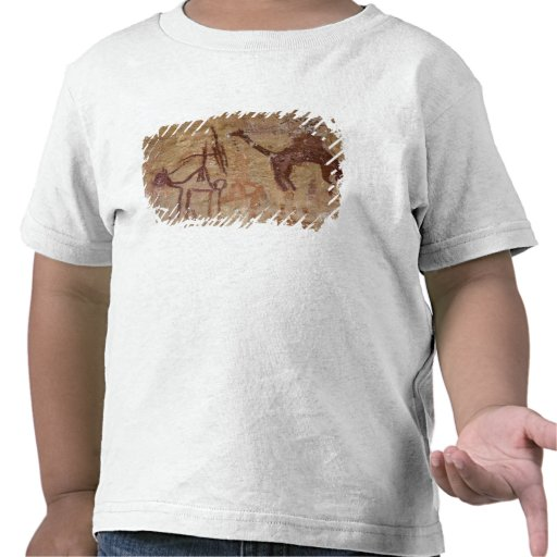 Prehistoric rock paintings with camels and shirts