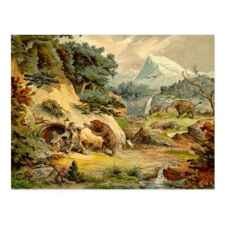 Prehistoric Scene Antique Print Postcard