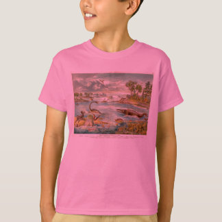 Prehistoric Scene Antique Print Tee Shirt