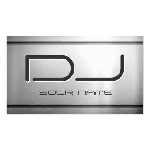 Premium Brushed Stainless Steel Metal - Music DJ Business Card Templates