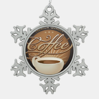 Premium Coffee and Coffee Cup Snowflake Pewter Christmas Ornament