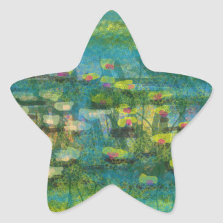 Premium Lilies on the Water design Star Stickers