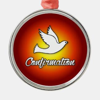 Premium Round Ornament, Confirmation, Dove, Red Silver-Colored Round Decoration