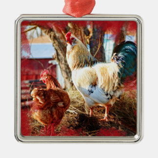 Premium square ornament with hen and rooster