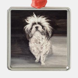 "Premium square ornamentation ""portrait dog "" metal ornament"